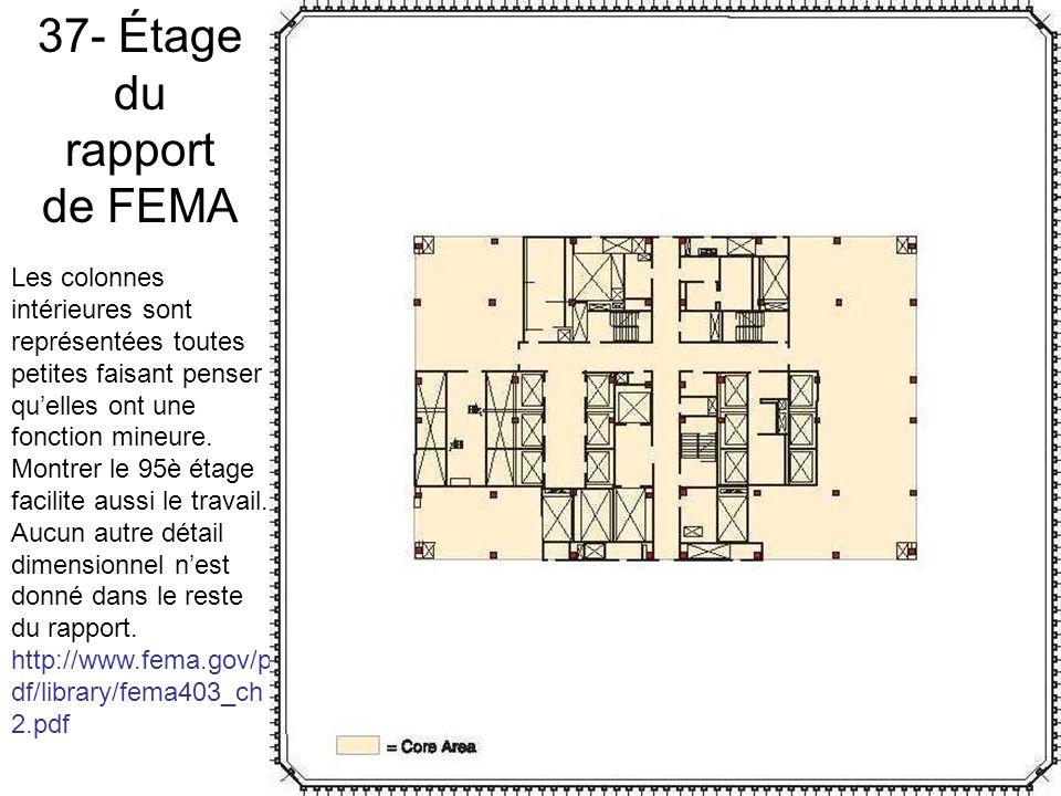 37- Étage du rapport de FEMA Les colonnes intérieures sont représentées toutes petites faisant penser quelles ont une fonction mineure.