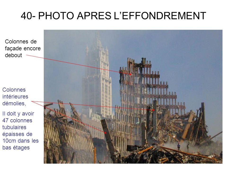 40- PHOTO APRES LEFFONDREMENT Colonnes de façade encore debout Colonnes intérieures démolies, Il doit y avoir 47 colonnes tubulaires épaisses de 10cm dans les bas étages