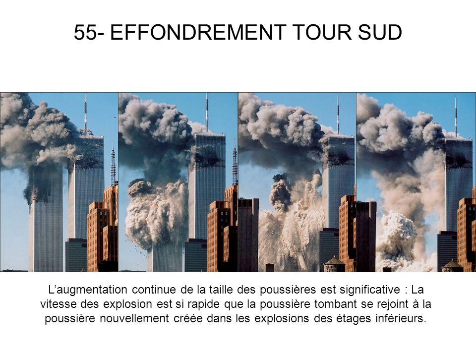 55- EFFONDREMENT TOUR SUD Laugmentation continue de la taille des poussières est significative : La vitesse des explosion est si rapide que la poussière tombant se rejoint à la poussière nouvellement créée dans les explosions des étages inférieurs.