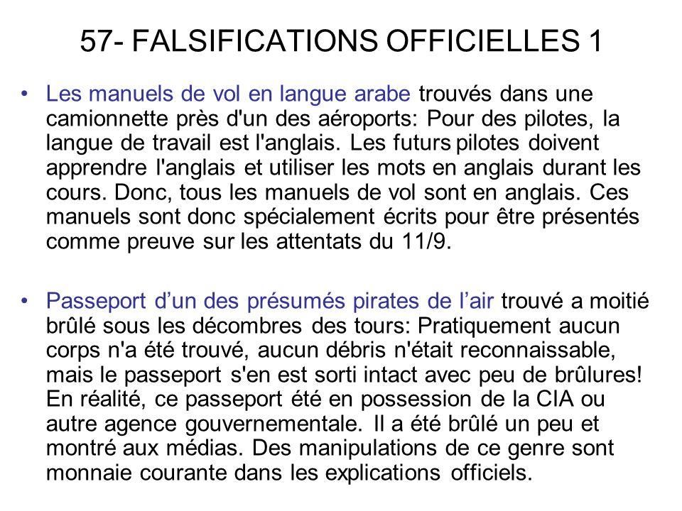 57- FALSIFICATIONS OFFICIELLES 1 Les manuels de vol en langue arabe trouvés dans une camionnette près d un des aéroports: Pour des pilotes, la langue de travail est l anglais.