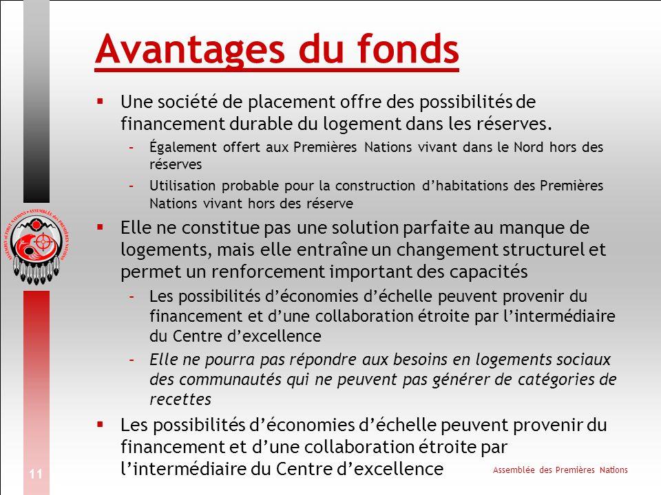 Assemblée des Premières Nations 11 Avantages du fonds Une société de placement offre des possibilités de financement durable du logement dans les réserves.