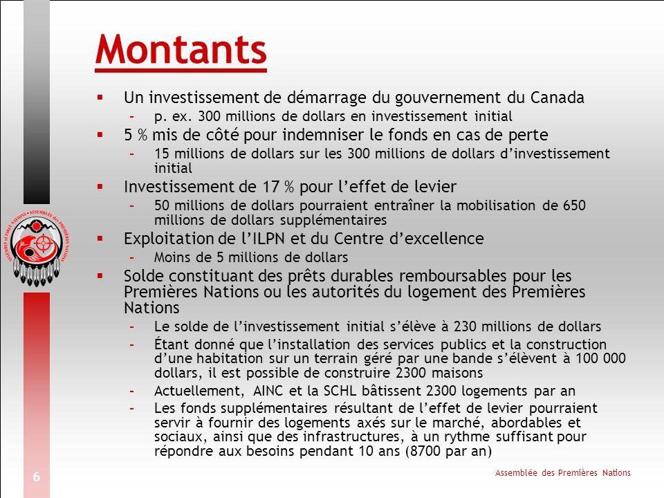 Assemblée des Premières Nations 6 Montants Un investissement de démarrage du gouvernement du Canada –p.