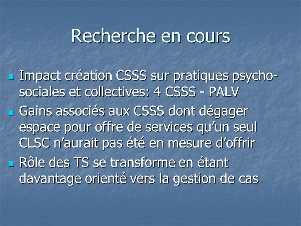Recherche en cours Impact création CSSS sur pratiques psycho- sociales et collectives: 4 CSSS - PALV Impact création CSSS sur pratiques psycho- social