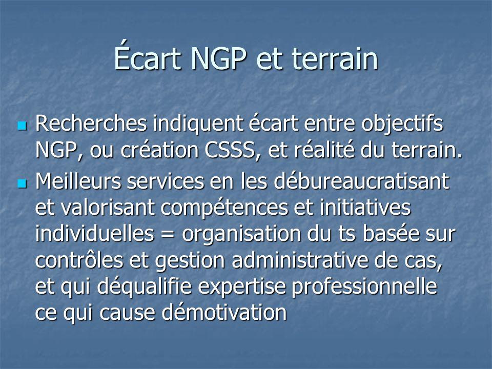 Écart NGP et terrain Recherches indiquent écart entre objectifs NGP, ou création CSSS, et réalité du terrain. Recherches indiquent écart entre objecti