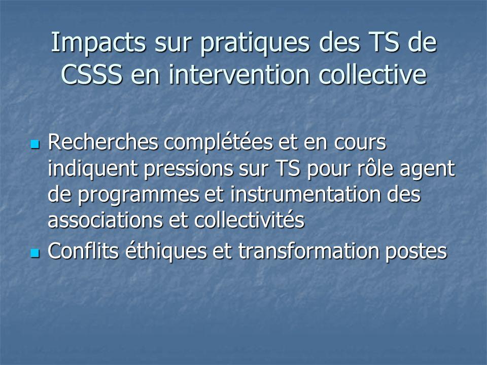Impacts sur pratiques des TS de CSSS en intervention collective Recherches complétées et en cours indiquent pressions sur TS pour rôle agent de progra