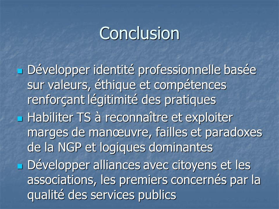 Conclusion Développer identité professionnelle basée sur valeurs, éthique et compétences renforçant légitimité des pratiques Développer identité profe