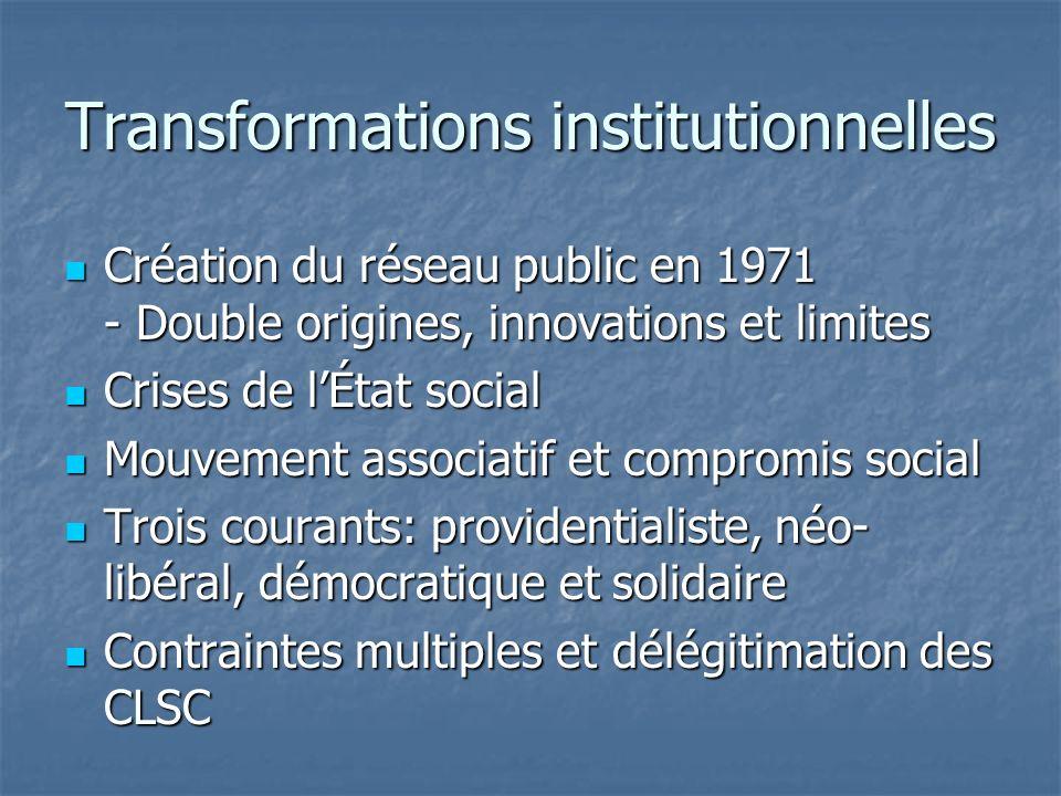 Transformations institutionnelles Création du réseau public en 1971 - Double origines, innovations et limites Création du réseau public en 1971 - Doub