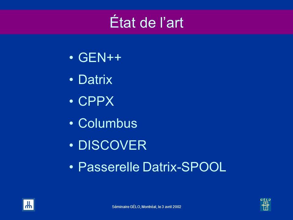 Séminaire GÉLO, Montréal, le 3 avril 2002 État de lart GEN++ Datrix CPPX Columbus DISCOVER Passerelle Datrix-SPOOL