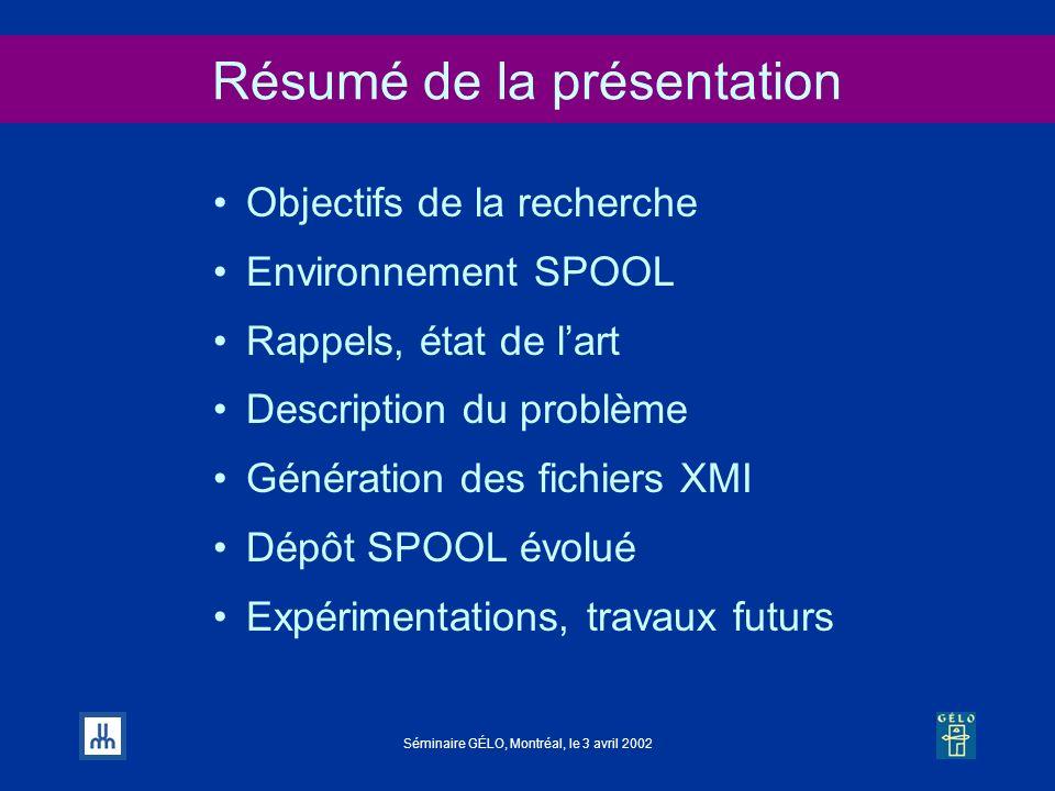 Séminaire GÉLO, Montréal, le 3 avril 2002 Résumé de la présentation Objectifs de la recherche Environnement SPOOL Rappels, état de lart Description du