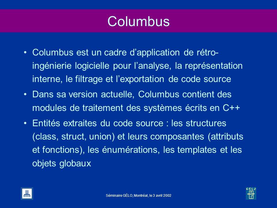 Séminaire GÉLO, Montréal, le 3 avril 2002 Columbus Columbus est un cadre dapplication de rétro- ingénierie logicielle pour lanalyse, la représentation
