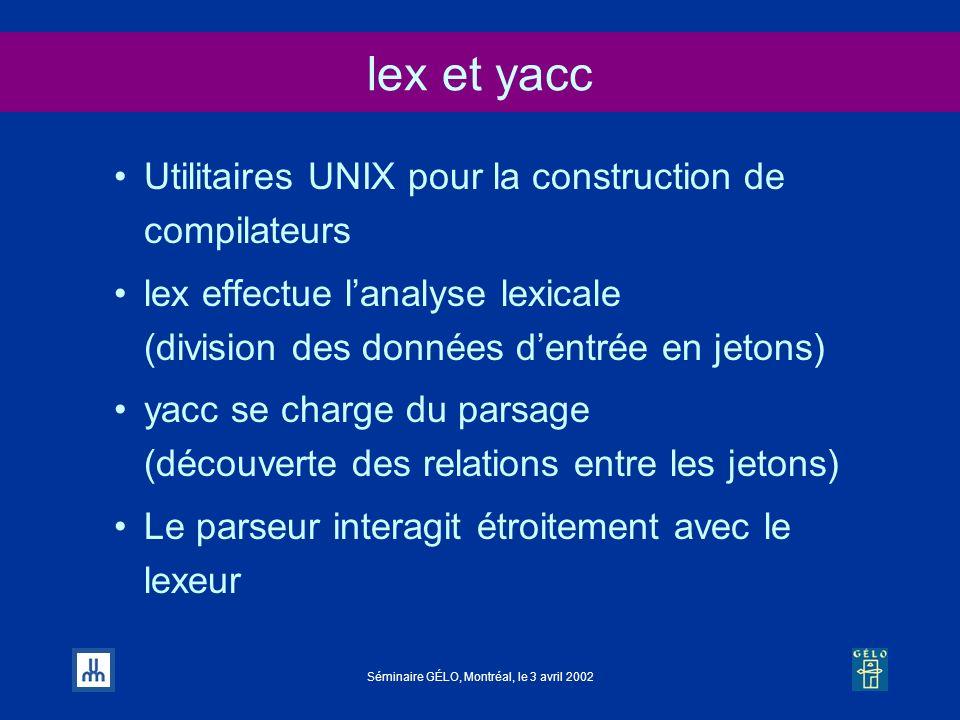 Séminaire GÉLO, Montréal, le 3 avril 2002 lex et yacc Utilitaires UNIX pour la construction de compilateurs lex effectue lanalyse lexicale (division d