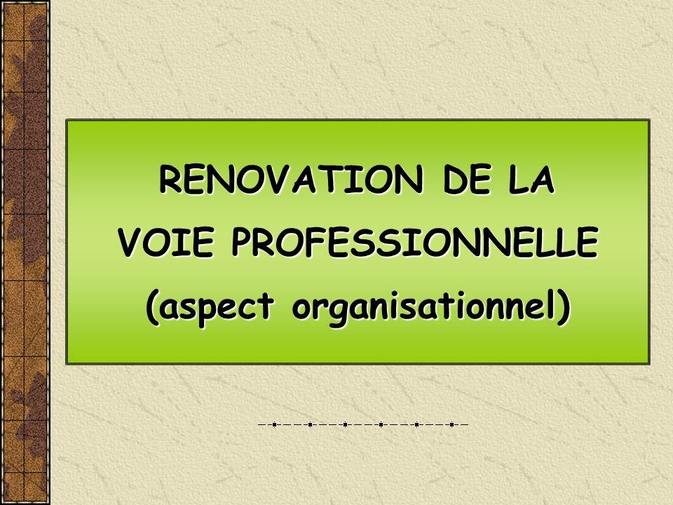 RENOVATION DE LA VOIE PROFESSIONNELLE (aspect organisationnel) RENOVATION DE LA VOIE PROFESSIONNELLE (aspect organisationnel)