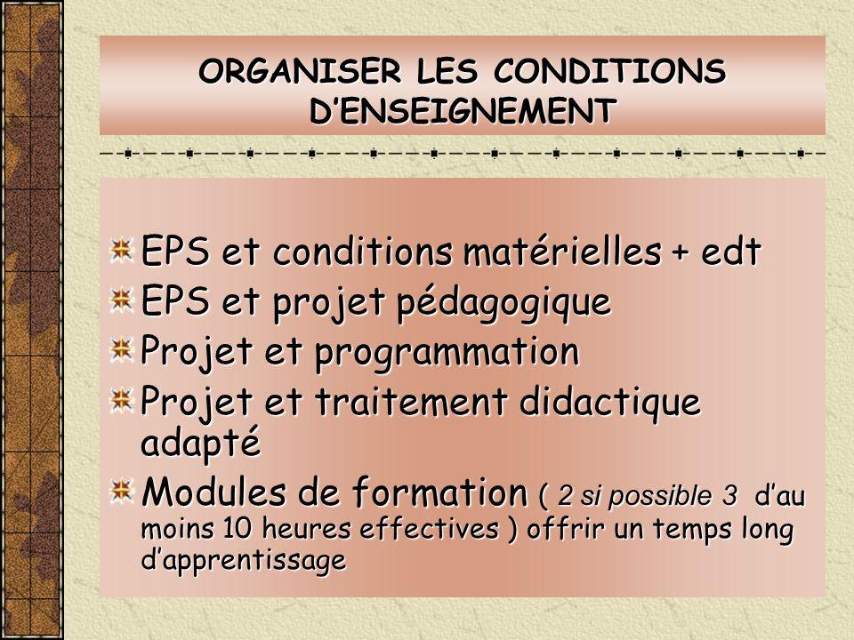 ORGANISER LES CONDITIONS DENSEIGNEMENT EPS et conditions matérielles + edt EPS et projet pédagogique Projet et programmation Projet et traitement dida