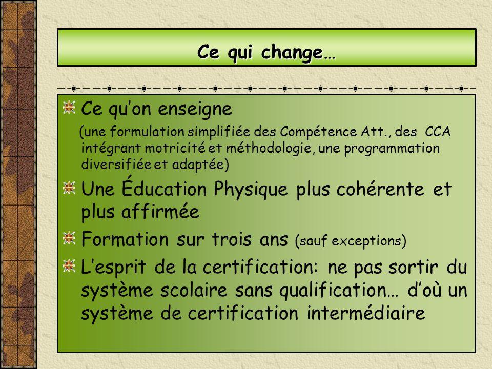 Ce qui change… Ce quon enseigne (une formulation simplifiée des Compétence Att., des CCA intégrant motricité et méthodologie, une programmation divers