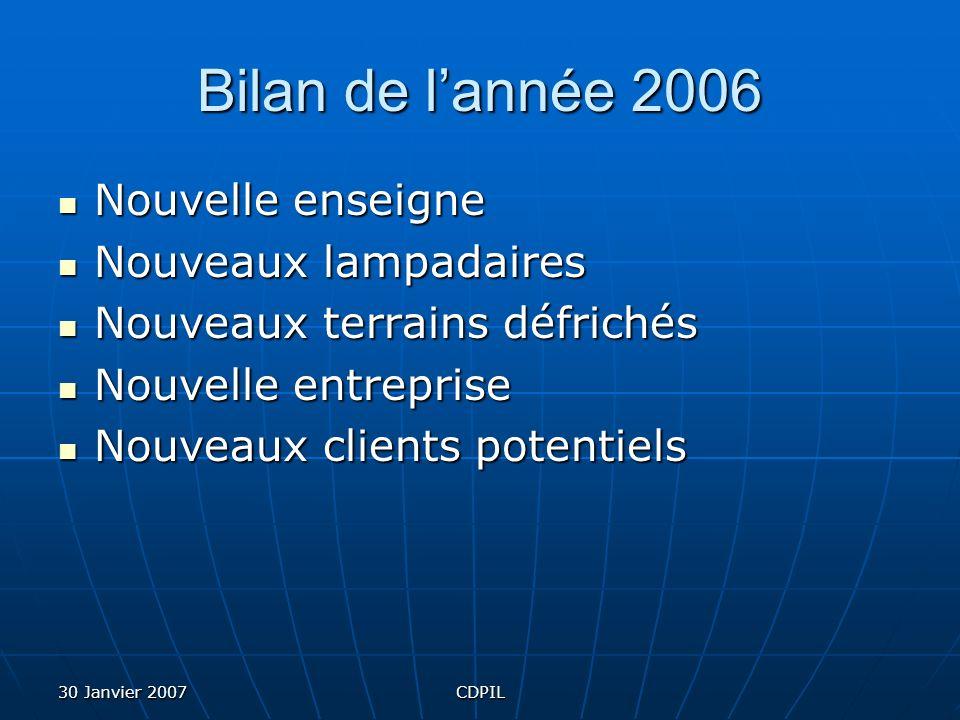 30 Janvier 2007CDPIL Bilan de lannée 2006 Nouvelle enseigne Nouveaux lampadaires Nouveaux terrains défrichés Nouvelle entreprise Nouveaux clients potentiels
