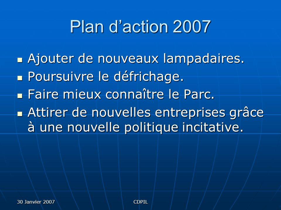 30 Janvier 2007CDPIL Politique incitative Une subvention sur 2 ans équivalent à la taxe foncière générale.