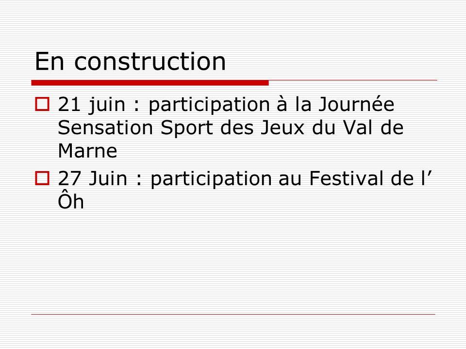 En construction 21 juin : participation à la Journée Sensation Sport des Jeux du Val de Marne 27 Juin : participation au Festival de l Ôh