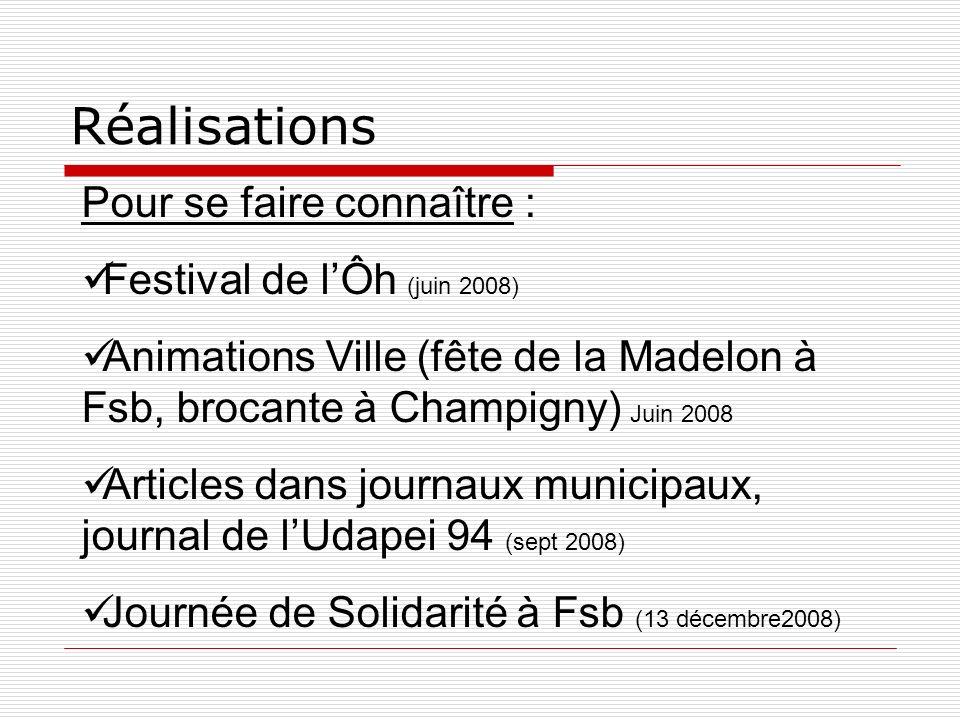 Réalisations Pour se faire connaître : Festival de lÔh (juin 2008) Animations Ville (fête de la Madelon à Fsb, brocante à Champigny) Juin 2008 Article