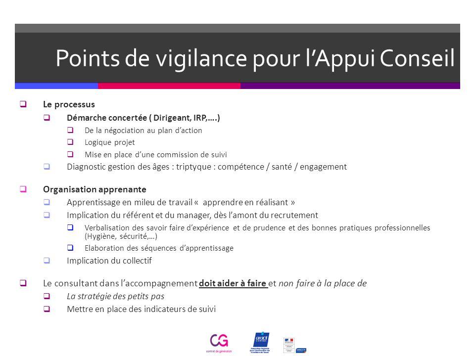 Points de vigilance pour lAppui Conseil Le processus Démarche concertée ( Dirigeant, IRP,….) De la négociation au plan daction Logique projet Mise en
