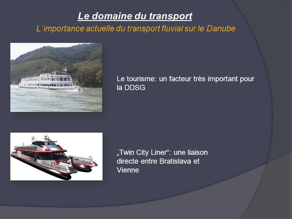 Le domaine du transport L´importance actuelle du transport fluvial sur le Danube Le tourisme: un facteur très important pour la DDSG Twin City Liner: