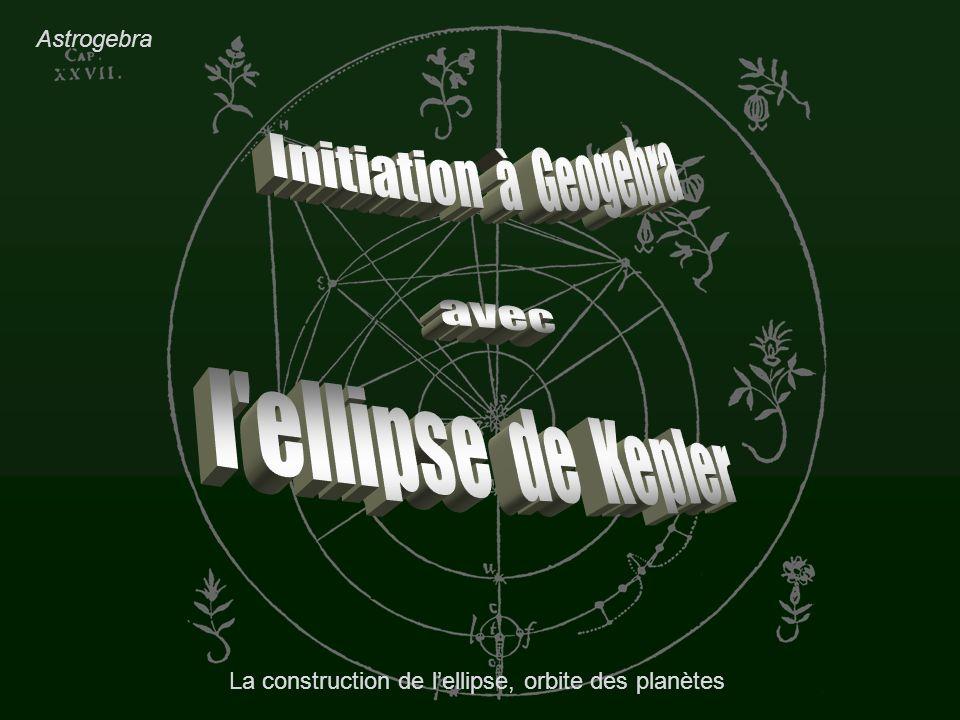 2010/03/16L ellipse, orbite des planètes12 Construction de lellipse Tracé de lellipse Syntaxe Geogebra : A rentrer dans le Champ de saisie en bas : el=ellipse[F,F,a] Variations avec lexcentricité.