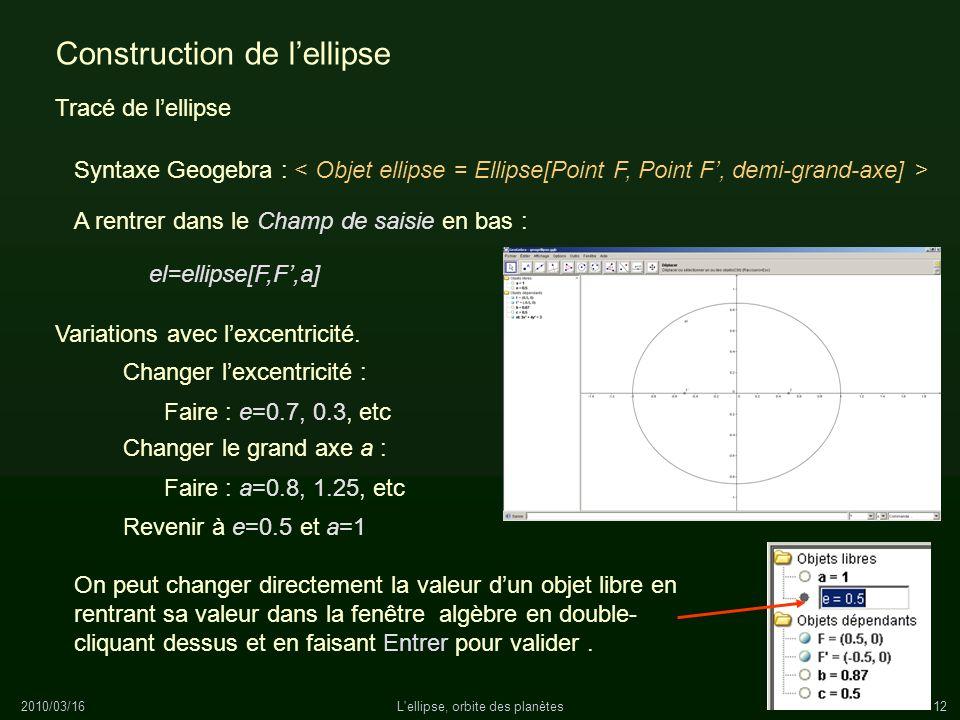 2010/03/16L'ellipse, orbite des planètes12 Construction de lellipse Tracé de lellipse Syntaxe Geogebra : A rentrer dans le Champ de saisie en bas : el