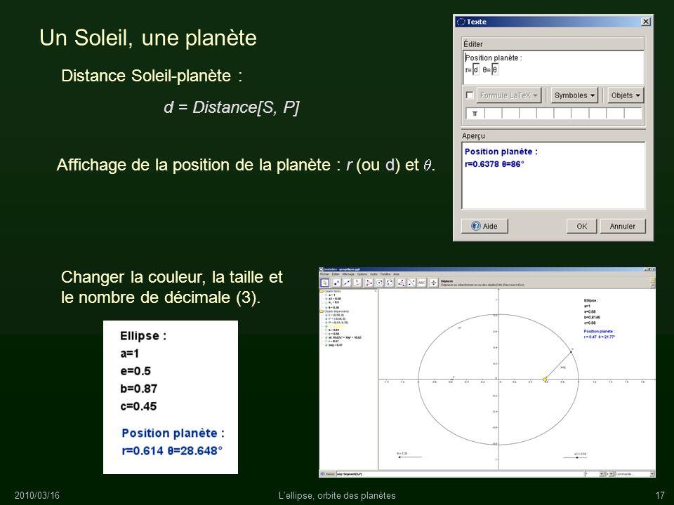 2010/03/16L'ellipse, orbite des planètes17 Un Soleil, une planète Affichage de la position de la planète : r (ou d) et. Distance Soleil-planète : Chan