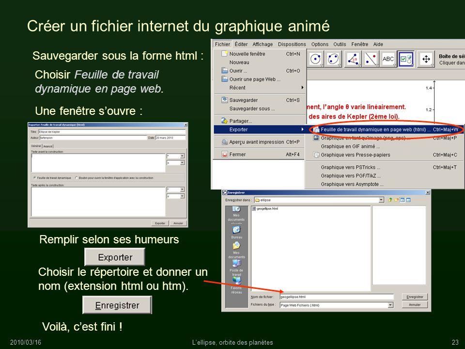 2010/03/16L'ellipse, orbite des planètes23 Créer un fichier internet du graphique animé Sauvegarder sous la forme html : Remplir selon ses humeurs Une