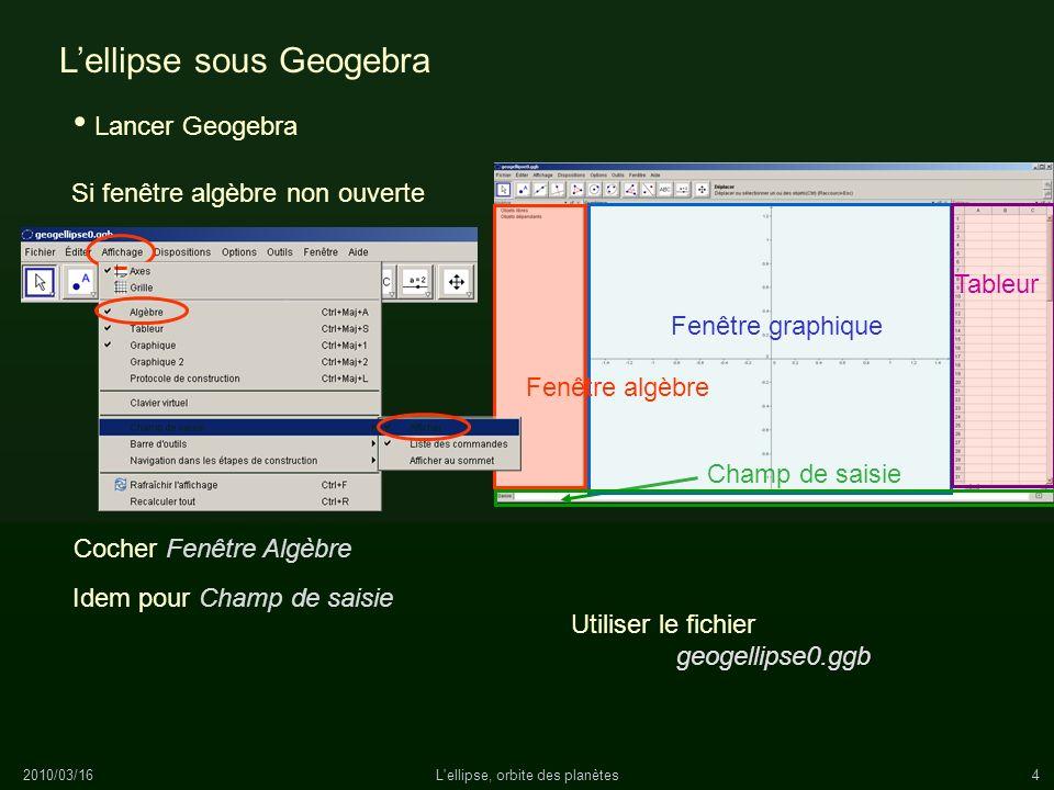 2010/03/16L'ellipse, orbite des planètes4 Lellipse sous Geogebra Lancer Geogebra Utiliser le fichier geogellipse0.ggb Champ de saisie Fenêtre graphiqu