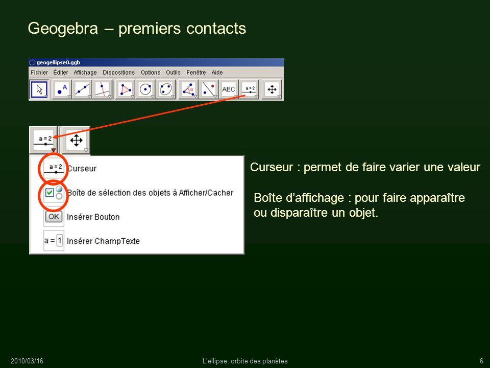 2010/03/16L'ellipse, orbite des planètes6 Geogebra – premiers contacts Curseur : permet de faire varier une valeur Boîte daffichage : pour faire appar