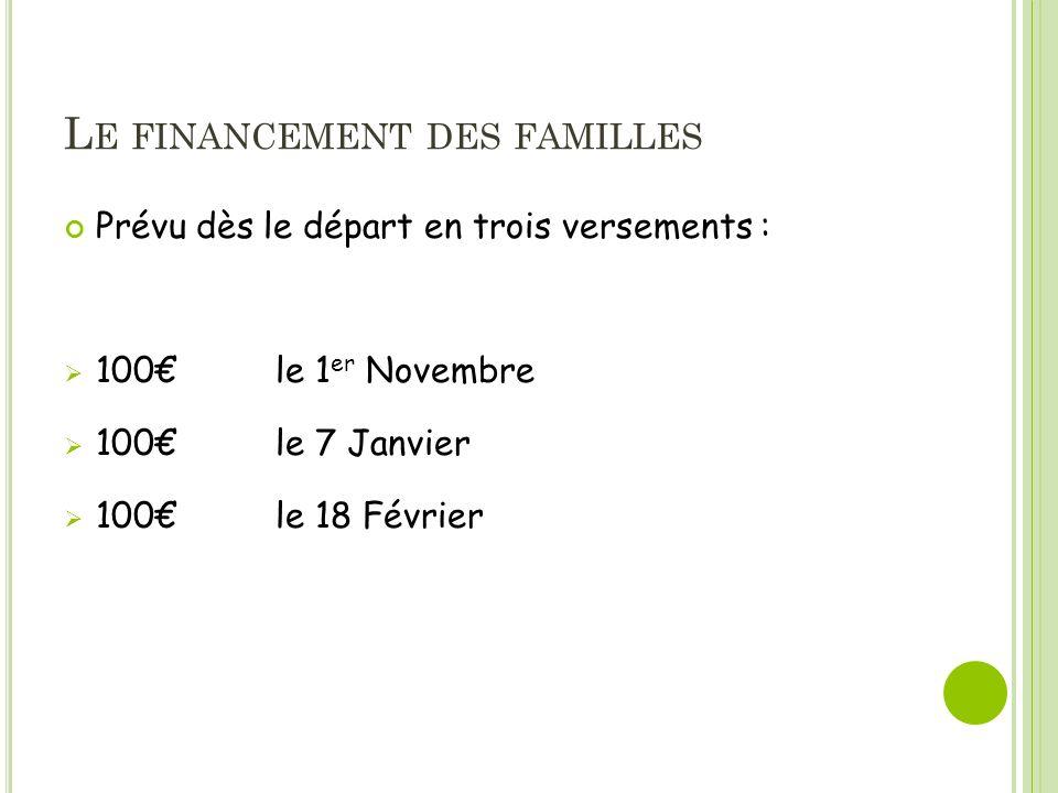 L E FINANCEMENT DES FAMILLES Prévu dès le départ en trois versements : 100 le 1 er Novembre 100 le 7 Janvier 100le 18 Février