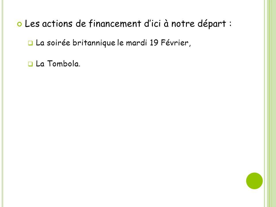 Les actions de financement dici à notre départ : La soirée britannique le mardi 19 Février, La Tombola.