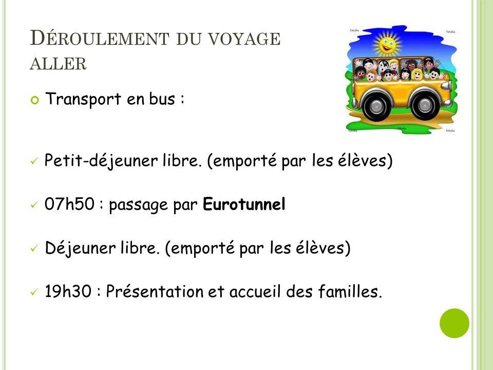 D ÉROULEMENT DU VOYAGE ALLER Transport en bus : Petit-déjeuner libre.