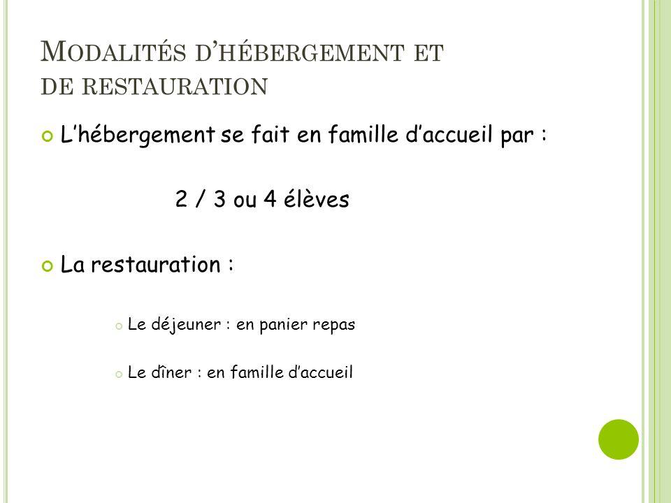 M ODALITÉS D HÉBERGEMENT ET DE RESTAURATION Lhébergement se fait en famille daccueil par : 2 / 3 ou 4 élèves La restauration : Le déjeuner : en panier repas Le dîner : en famille daccueil