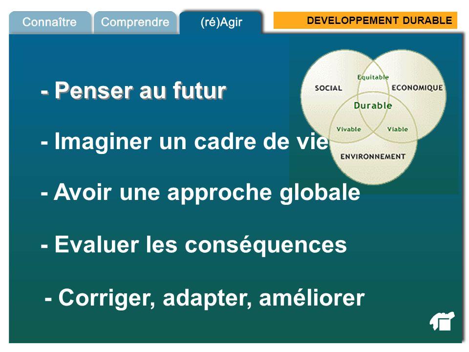 DEVELOPPEMENT DURABLE Dev Durable 2 - Penser au futur - Imaginer un cadre de vie - Avoir une approche globale - Evaluer les conséquences - Corriger, a