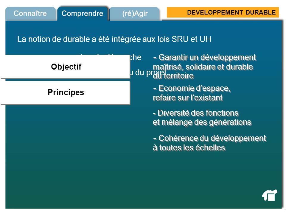 DEVELOPPEMENT DURABLE La notion de durable a été intégrée aux lois SRU et UH - dans la démarche Loi SRU & UH Principes - dans le contenu du projet - E