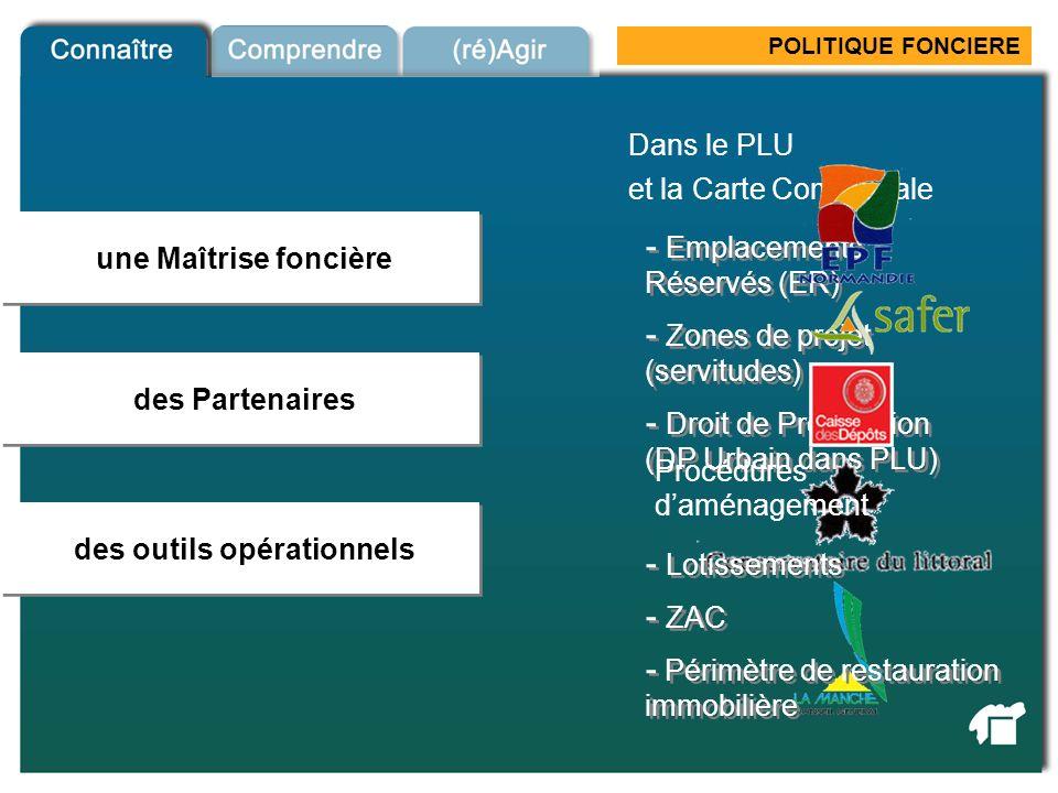 POLITIQUE FONCIERE une Maîtrise foncière des Partenaires Outils fonciers des outils opérationnels Dans le PLU - Emplacements Réservés (ER) - Droit de