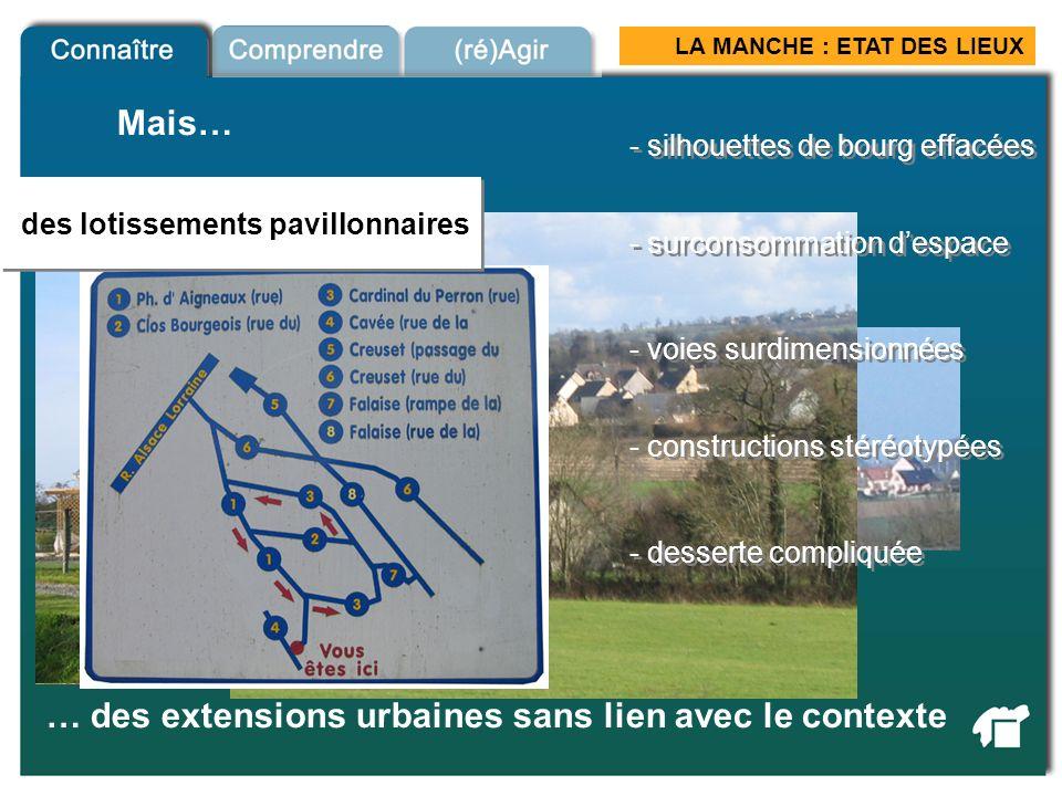 LA MANCHE : ETAT DES LIEUX Mais … Zones dActivités … des extensions urbaines sans lien avec le contexte - impact dans le paysage - pauvreté des espaces publics - signalétique indispensable .