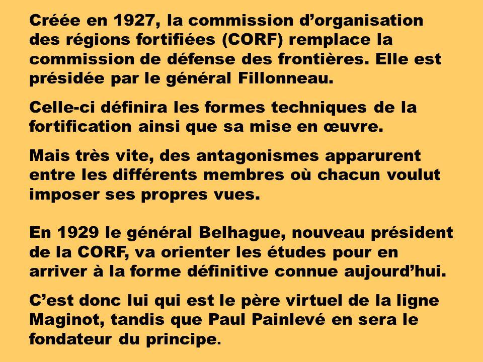 Créée en 1927, la commission dorganisation des régions fortifiées (CORF) remplace la commission de défense des frontières.