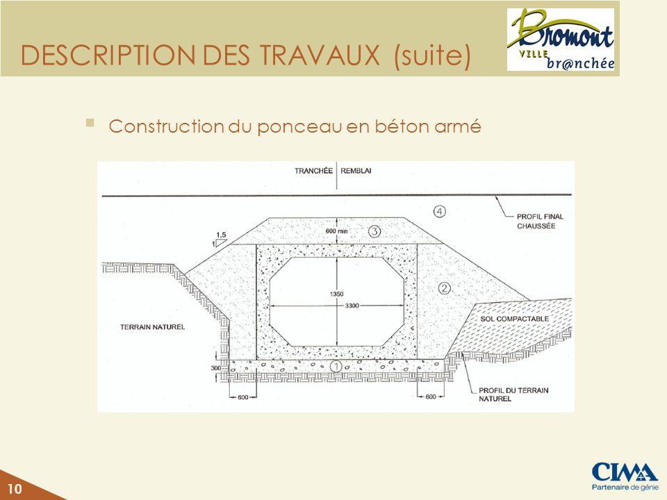 DESCRIPTION DES TRAVAUX (suite) Construction du ponceau en béton armé 10