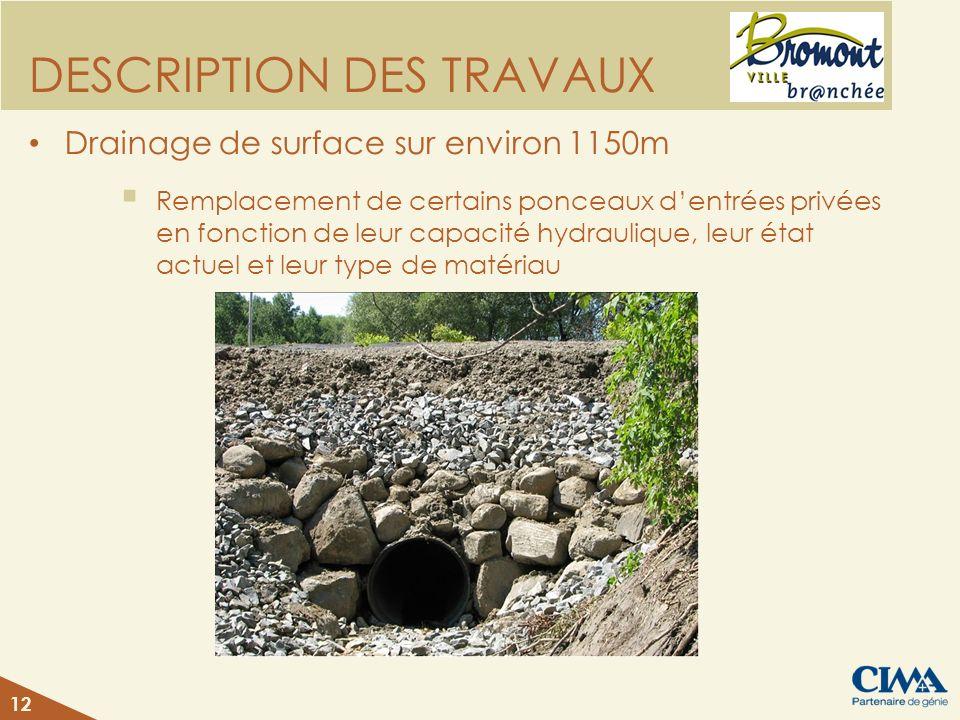 DESCRIPTION DES TRAVAUX Drainage de surface sur environ 1150m Remplacement de certains ponceaux dentrées privées en fonction de leur capacité hydrauli