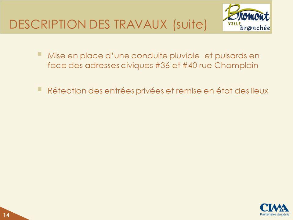 DESCRIPTION DES TRAVAUX (suite) Mise en place dune conduite pluviale et puisards en face des adresses civiques #36 et #40 rue Champlain Réfection des