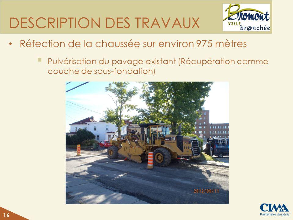 DESCRIPTION DES TRAVAUX Réfection de la chaussée sur environ 975 mètres Pulvérisation du pavage existant (Récupération comme couche de sous-fondation)