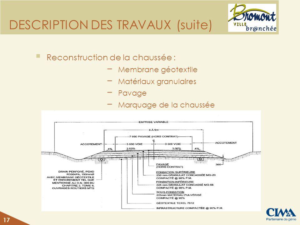DESCRIPTION DES TRAVAUX (suite) Reconstruction de la chaussée : Membrane géotextile Matériaux granulaires Pavage Marquage de la chaussée 17