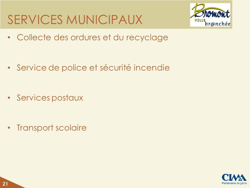 SERVICES MUNICIPAUX Collecte des ordures et du recyclage Service de police et sécurité incendie Services postaux Transport scolaire 21