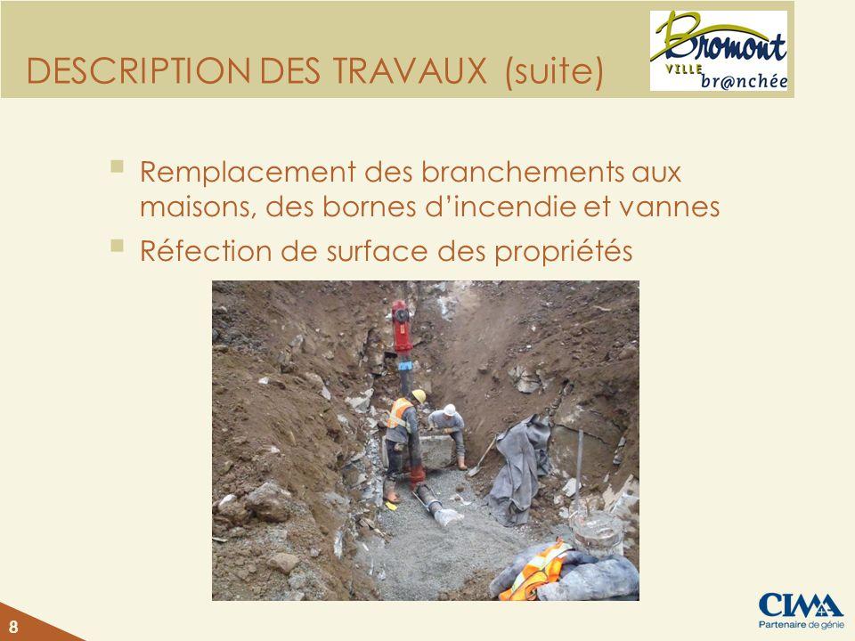 DESCRIPTION DES TRAVAUX (suite) Remplacement des branchements aux maisons, des bornes dincendie et vannes Réfection de surface des propriétés 8