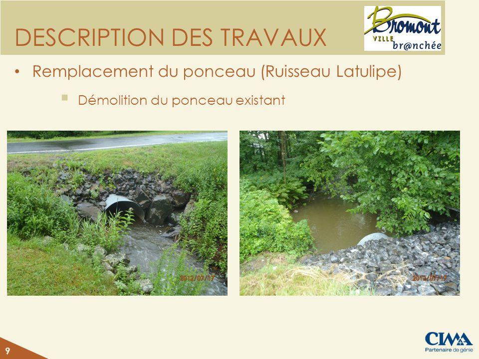 DESCRIPTION DES TRAVAUX Remplacement du ponceau (Ruisseau Latulipe) Démolition du ponceau existant 9