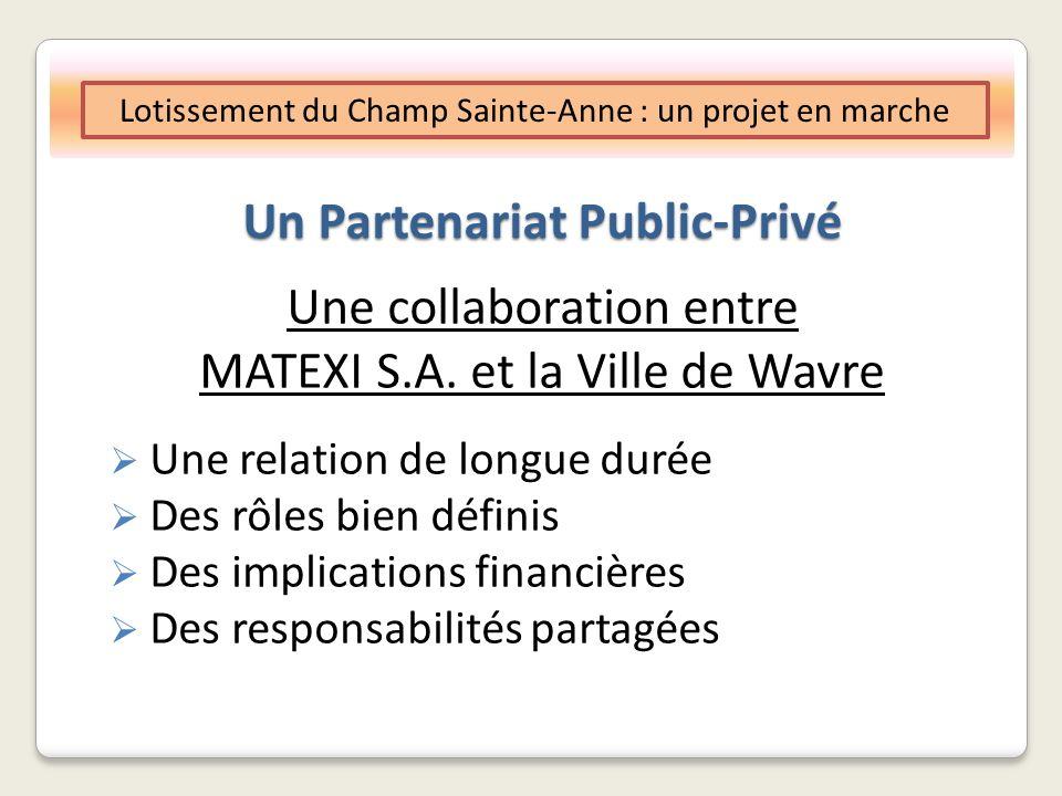 Un Partenariat Public-Privé Objectif De nouvelles opportunités daccès à la propriété dans un environnement paysager et urbanistique de qualité Environ 600 logements, en plusieurs phases Lotissement du Champ Sainte-Anne : un projet en marche
