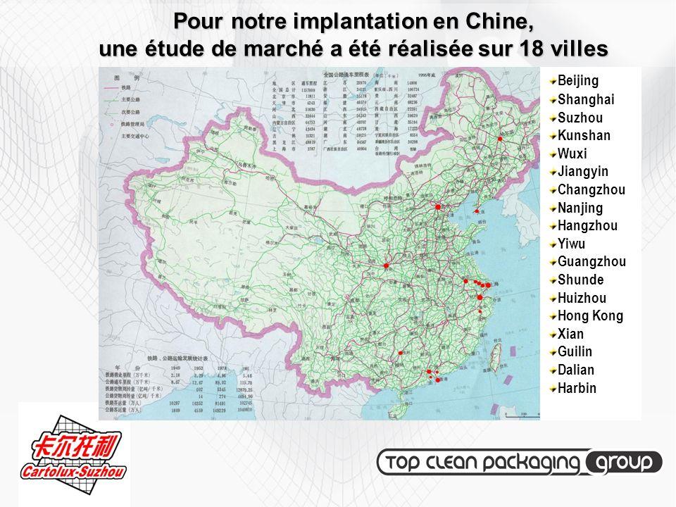 Pour notre implantation en Chine, une étude de marché a été réalisée sur 18 villes Beijing Shanghai Suzhou Kunshan Wuxi Jiangyin Changzhou Nanjing Han