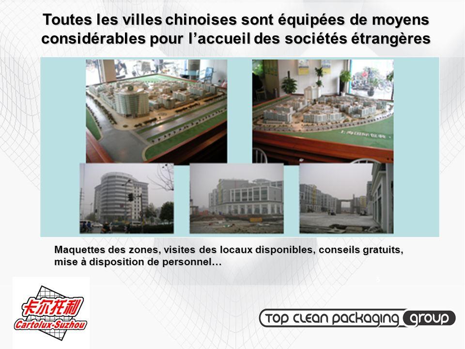 Toutes les villes chinoises sont équipées de moyens considérables pour laccueil des sociétés étrangères Maquettes des zones, visites des locaux dispon